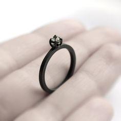 Micro thorn - aquamarine oxidized silver ring - natural brazilian aquamarine oxidized sterling silver ring - minimalist engagement ring by jewelryMirta on Etsy https://www.etsy.com/listing/97831193/micro-thorn-aquamarine-oxidized-silver