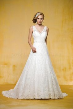 Wholesale A-Line Wedding Dresses - Buy 2014 Attractive Hot Lace Beaded Belt Deep V-Neck And Back Sweep Train A-Line Gown Wedding Dresses, $156.52 | DHgate
