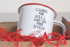 Carpe the hell out of this diem... Our inspired enamel mugs are truly a must have item in every household. Crafted from steel with an enamel finish these mugs are shatterproof and extremely durable. Throw it in the pack for a weekend of camping and it returns unscathed. Enamel mugs simply transcend time with their classic style and durability. We truly love our enamel mugs at home and love knowing that they are built to last a lifetime.