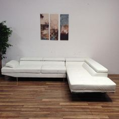 Image of White Leather L-Shape Sectional & Chaise