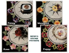 Instant Download PDF Vintage 1970's Crochet Pattern to make a Lace Doiley with Pansy Marigold Rose and Poppy flowers