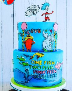 dr suess themed cake featuring cat in the hat the lorax one
