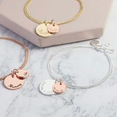 Personalised Double Disc Charm Bracelet by Lisa Angel, the perfect gift for Explore more unique gifts in our curated marketplace. Tatting Jewelry, Swarovski Jewelry, Leather Jewelry, Turquoise Jewelry, Jewelry Trends, Statement Jewelry, Handmade Bracelets, Silver Bracelets, Rose Gold Plates
