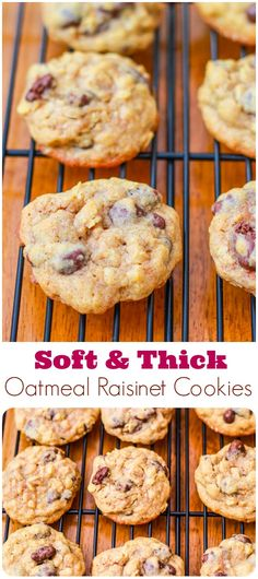 Soft, Chewy, & Thick Oatmeal Raisinet Cookies