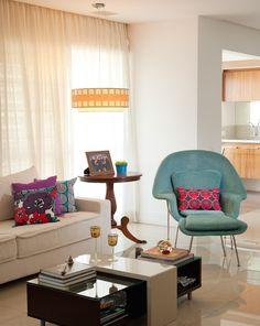 Cores bem dosadas no apto decorado no Blog Achados de Decoração #turquesa #apartamento #achadosdedecoracao