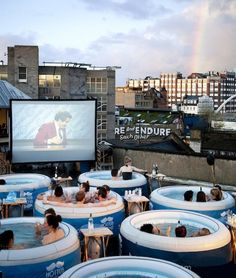 "Hot Tub Cinema in London, omg such a good idea, and they're playing one of my fave movies ""ANCHORMAN"""