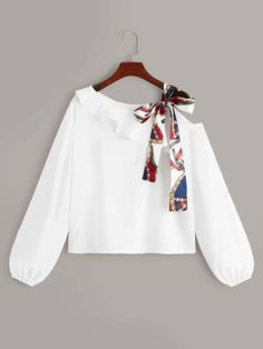 To find out about the Asymmetrical Tie Neck Ruffle Trim Top at SHEIN, part of our latest Blouses ready to shop online today! Indian Fashion Dresses, Girls Fashion Clothes, Teen Fashion Outfits, Trendy Fashion, Latest Fashion, Crop Top Outfits, Cute Casual Outfits, Stylish Outfits, Stylish Dresses For Girls