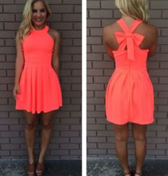 Neon Coral Cross Bow Back Dress. Lots of cute dresses from this site. Bow Back Dresses, Neon Dresses, Coral Dress, Pretty Dresses, Beautiful Dresses, Dress Outfits, Casual Dresses, Short Dresses, Cute Outfits