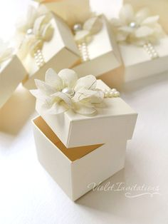 Floral ivory favor boxes, handmade wedding bombonieres, girl christening baptism boxed favors by Violet