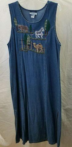 Vintage Sara Studio Denim Dress Size M Maxi Animal Applique  #SaraStudio #Shift #Casual