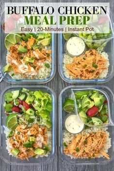 Instant Pot Buffalo Chicken Meal Prep- Instant Pot Buffalo Chicken Meal Prep – add this super simple and fast buffalo chicken recipe to your weekly meal prep! Low-carb, packed with veggies, and absolutely delicious! Lunch Recipes, Cooking Recipes, Healthy Recipes, Meal Prep Recipes, Dinner Recipes, Clean Eating, Healthy Eating, Diet Food To Lose Weight, Weight Loss