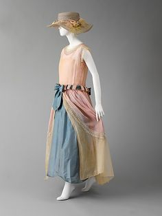 "~Pastel silk and cotton ""Robe de Style"" dress  with glass and metal beadwork, by Jeanne Lanvin, French, 1922~"