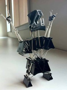 art made with paper clips | Office Supply Art - Foldback Clips Rocker