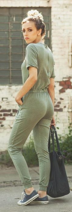 Comfy Olive Jumpsuit Sporty Chic Style
