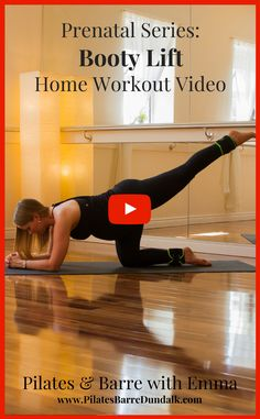 """It's time to lift and shape your derriere! This prenatal home workout video is dedicated to building and maintaining strength in your backside so that you can stay strong and """"lifted"""" throughout your nine months. It is safe for the second and third trimesters.Building a strong booty is not just for aesthetic reasons. The exercises […]The post Prenatal Series: Booty Lift Home Workout appeared first on Pilates & Barre, Dundalk. Pilates Barre, Pilates Video, Barre Workout, Workout Routines, Pregnancy Pilates, Pregnancy Workout, Home Workout Videos, At Home Workouts, Hip Pain"""