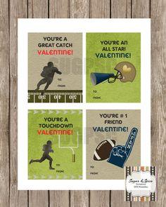 kids valentine cards printable football by sugspcinvitations - Football Valentine Cards