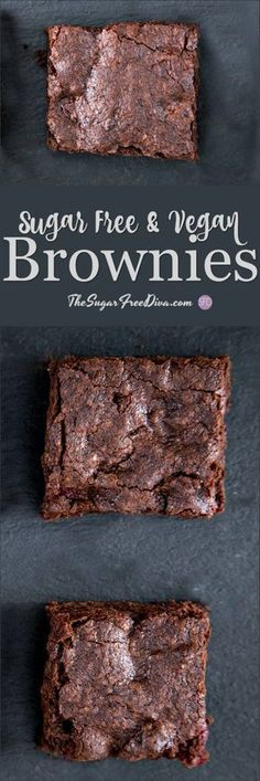 The recipe for Sugar Free and Vegan Brownies that actually tastes amazing too! The post The recipe for Sugar Free and Vegan Brownies that actually tastes amazing too! # appeared first on Dessert Park. Sugar Free Baking, Sugar Free Diet, Sugar Free Desserts, Sugar Free Recipes, Dessert Recipes, Vegan Recipes, Diabetic Recipes, Pre Diabetic, Diabetic Foods