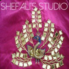 Peacock motif for traditional style lengha at Shefali's Studio. Follow us on instagram @shefalis_studio or on Facebook. Shefalis_studio@hotmail.com