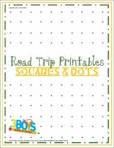 road trip printables for kids, squar, dot board, road trips, printabl game