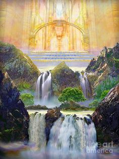 Heaven Painting, Heaven Art, Fantasy Landscape, Fantasy Art, Jesus Christus, Prophetic Art, Biblical Art, Bible Art, Christian Art