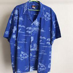 Ni'i Hawaii Aloha Nautical Island Map Vtg Shirt Sz XL-2XL #NiiFashionHawaii #Hawaiian
