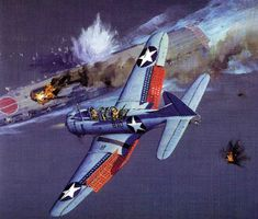 Dauntless dive bomber attacked a Japanese carriers at Midway BFD Ww2 Aircraft, Fighter Aircraft, Aircraft Carrier, Military Aircraft, Fighter Jets, Airplane Fighter, Airplane Art, Aircraft Painting, Ww2 Planes