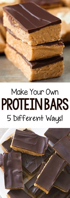 Protein Bars Recipe – Just 4 Ingredients! High Protein Snacks, No Bake Protein Bars, Healthy Protein Bars, Peanut Butter Protein Bars, Chocolate Protein Bars, Protein Bar Recipes, Protein Powder Recipes, Protein Cookies, Protein Foods