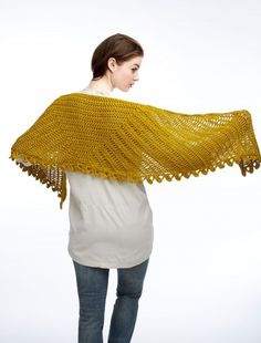 """Slice of Nice Shawl - free pattern from Yarnspirations, approx. 60"""" x 18""""; 640 yds  worsted weight with hook size 'I'    . . . .   ღTrish W ~ http://www.pinterest.com/trishw/  . . . .   #crochet"""