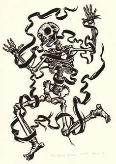 Tanxxx. Big Dancing Skeleton. Linogravure.