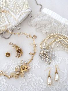 Bridal Jewelry & Accessories.  Vintage inspired with a boho chic vibe. #perfectdetails #perfectdetailsjewelry hair-vine, hair accessory, pearl wedding jewelry, ear-cuff, ear-crawler, pearl handbag, embroidered tulle wedding garter.  Define your wedding day style at https://perfectdetails.com