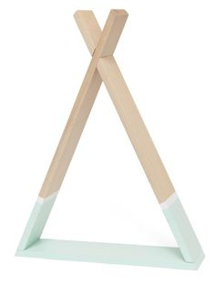A tipi shelf made of beech wood and painted with a soft mint non toxic waterbased paint and a contrast white stripe above. Easy to assemble (screws inclucded). Wood knots and color difference between the parts may occur due to the character of wo Baby Bedroom, Baby Boy Rooms, Kids Bedroom, Small Space Interior Design, Interior Design Living Room, Storage Shelves, Wall Shelves, Wooden Teepee, Box Design