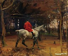 A huntsman Artwork by Sir Alfred James Munnings