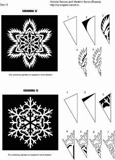 Снежинки из бумаги. Схемы для вырезания снежинки. Чтобы сделать снежинку из бумаги нам понадобится бумага, ножници, схемы узоров и два этапа работы на 5 мнут. На первом этапе необходимо правильно сложить бумагу в заготовку для вырезания. Для этого берем лист бумаги вырезаем из него квадрат и складываем его чтобы получился вот такой треугольник. Затем этот треугольник складываем на половину менший треугольник. И далее все как на фото.