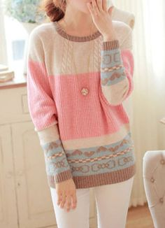 Sweet Scoop Neck Long Sleeve Bowknot and Heart Pattern Women's Sweater