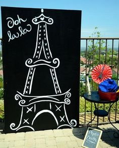 Paris Theme Birthday Party Fun for Little Girls - 4X6 painted black then add decor. Props - berets/bread.....