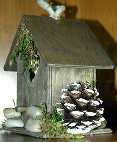 Minature wood  Birdhouse or garden decorations by penspics on Etsy, $18.00
