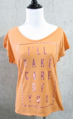 Decree I'll Take Care Of You, Orange and Pink Juniors Cap Sleeve Knit Top, Med #Decree #KnitTop #Casual