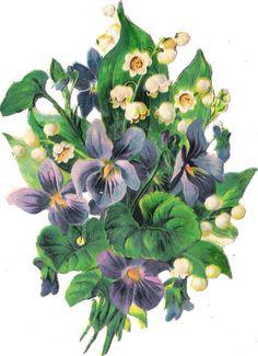 Oblaten Glanzbild scrap die cut  chromo  Blume flower  15,6 cm  Veilchen violet