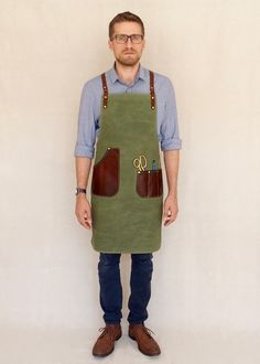 Waxed Canvas and Leather Apron For Craftspersons by BlueandGrae