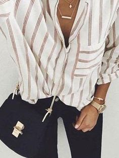 Turn Down Collar Striped blouse for work women blouse for work business blouse for work casual blouse for work chic blouse for work classy blouse for work workwear blouse outfit blouse fashion Mode Outfits, Fall Outfits, Casual Outfits, Hijab Casual, Hiking Outfits, Ladies Outfits, Casual Clothes, Looks Street Style, Looks Style