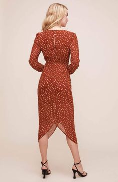 Vintage 80\u2019s Pink Wrap Dress with Matching Belt Hot Pink Faux Wrap Dress with Long Sleeves Swingy Fun 80\u2019s Dress