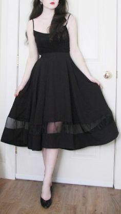 pretty organza black panel skirt