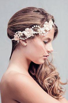 Rustic Wedding Flower Crown  Wedding Hair by gadegaarddesign
