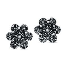 sarasas-maya-floral-earring Beautifully imagined and splendidly crafted, this pair of Sarasas earrings captures the innate charisma of flowers.  Every ray, curve, orb, and spiral is lusciously rendered in oxidized silver, amounting to a lovely whole.  Finally, the perfect floral earrings to put you in a joyous mood.