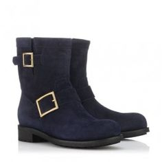 "Hot Sale Jimmy Choo Youth Navy Suede Biker Boots Modern Flat ankle Boots ""This moto boot is super easy to style—wear it with leggings, a skirt, or a dress! You just can't go wrong."" —Heather D., Neiman Marcus Designer Shoe Buyer. details color: Navy Lightly distressed grained leather upper Rounded toe Polished goldtone buckles at ankle and shaft Logo engraved plate at heel Dyed rabbit fur lining Treaded rubber sole; 1.25'' rubber heel Shaft measures 7'' tall and 13'' around widest point"