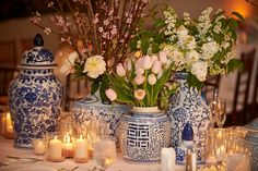blue and white chinoiserie vases and florals, candles