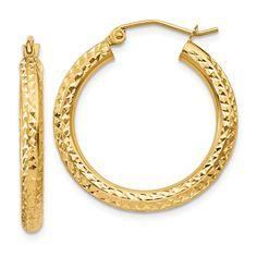 14k Diamond-cut 3mm Round Hoop Earrings TC265