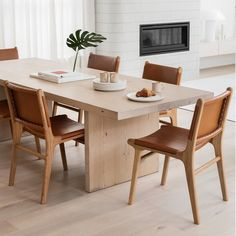 Mixed Dining Chairs, White Oak Dining Table, White Oak Kitchen, Oak Dining Sets, Mid Century Dining Chairs, Leather Dining Chairs, Dining Nook, Modern Dining Chairs, Dining Furniture
