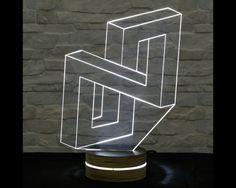 N Shape, 3D LED Lamp, Home Decor, Table Lamp, Desk Lamp, Office Decor, Plexiglass Lamp, Decorative Lamp, Nursery Light, Acrylic Night Light by ArtisticLamps
