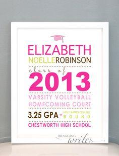 Custom Graduation Gift,Wall Art or High School Grad Announcement - Printable (Graduation Cap Theme) on Etsy, $15.00